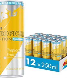 Red Bull Energy Drink Sugar Free Tropical 12 Pack of 250 ml, Sugarfree Yellow Edition