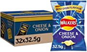 Walkers Cheese and Onion Crisps Box, 32.5 g, Case of 32